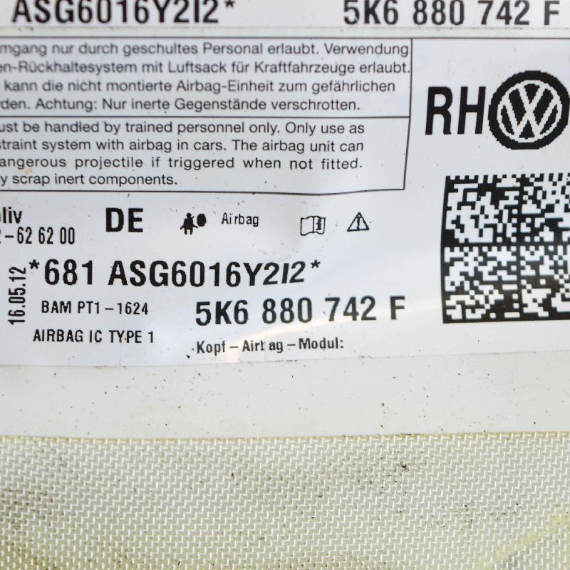 VW GOLF VI (5K1) Dešinys stogo SRS 5K2880742F 4229288