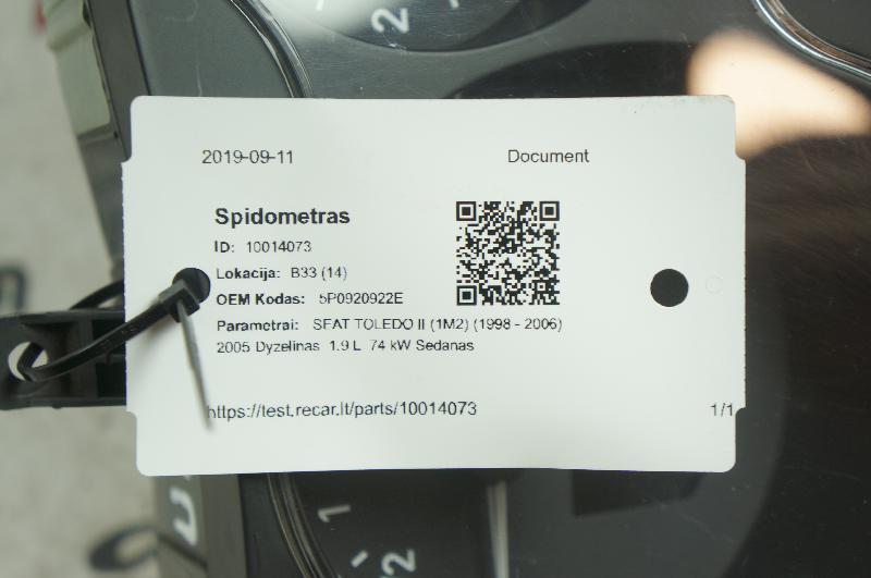 SEAT TOLEDO II (1M2) Spidometras 5P0920922E 4281368