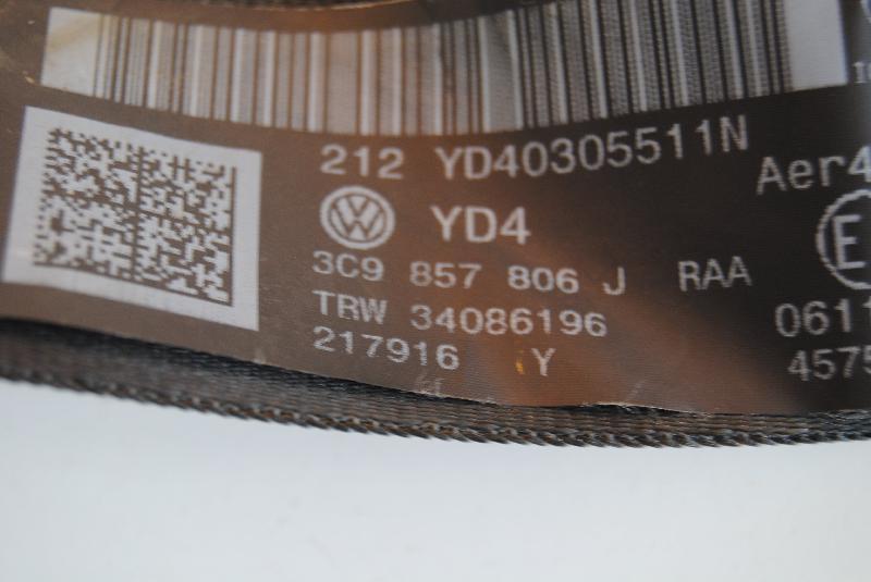 VW PASSAT Variant (365, B7) Galinis dešinys saugos diržas 3C9857806J 1522835