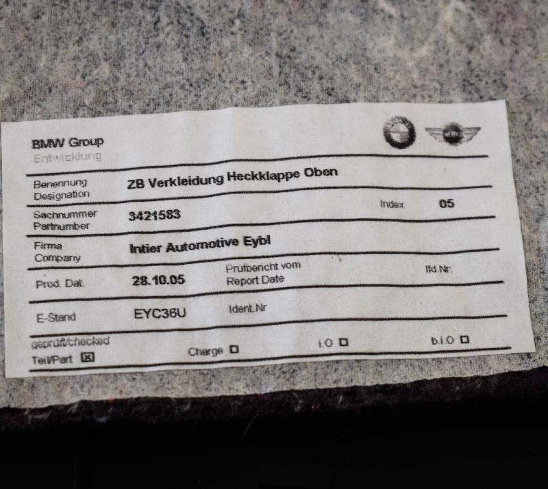 BMW Z4 Coupe (E86) Kitos salono detalės 3421583 2498060