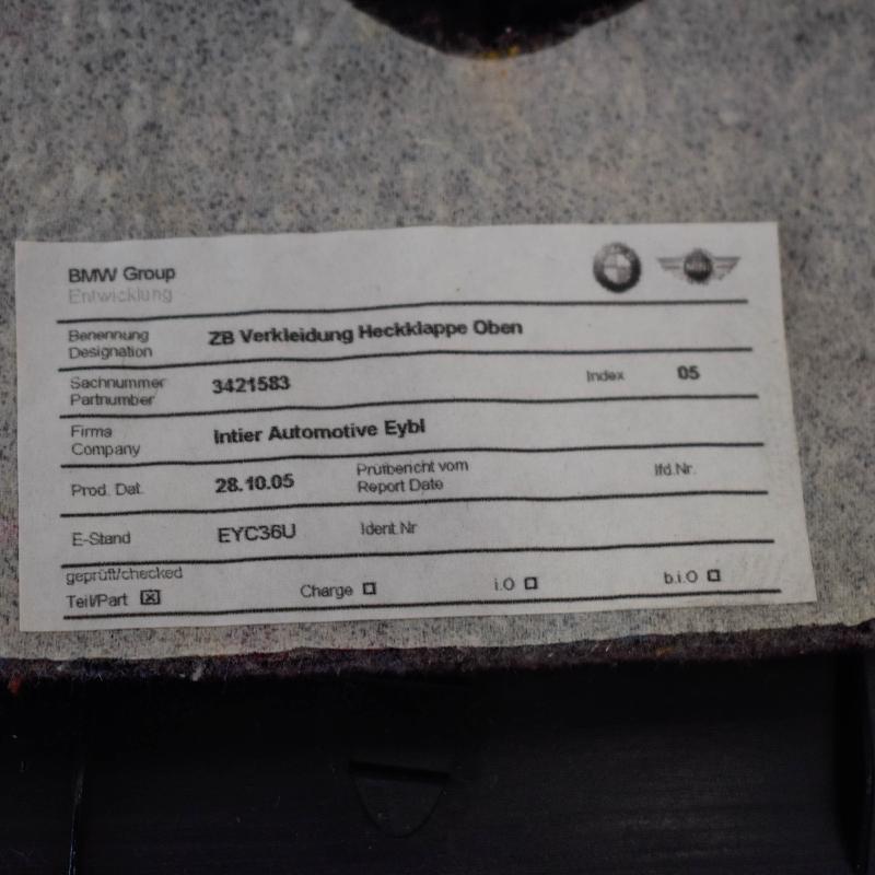 BMW Z4 Coupe (E86) Kitos salono detalės 3421583 2499851
